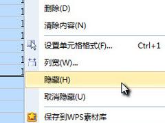 Wps表隐藏单元格和取消隐藏方法
